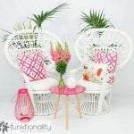 Styling by Funktionality - featuring Pink Tripod Coffee Table and Peacock Chairs