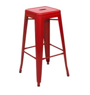Red Tolix bar Stool available for hire in Sydney.