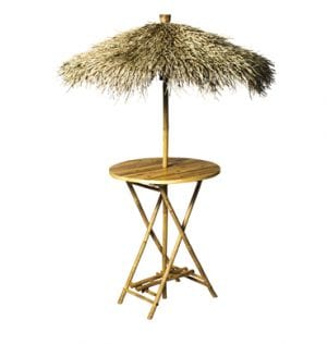 Bamboo Bar Table with Umbrella, available for Sydney hire.