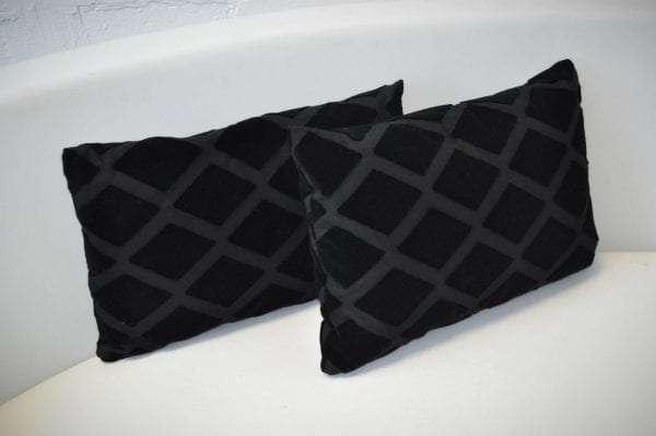 Two Black Velvet Cushions with Diamond Pattern
