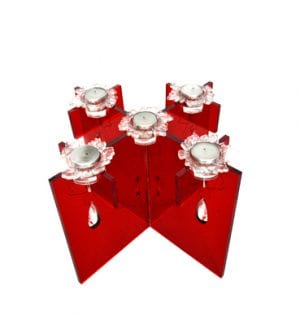 Red Perspex Candelabra available for Sydney hire