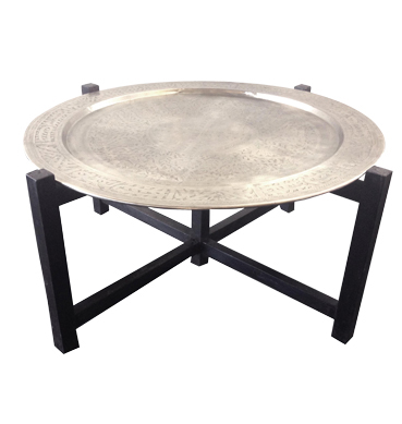 Moroccan Silver Tray Coffee table available for Sydney hire