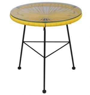 Yellow Scoop Coffee Table available for Sydney hire.