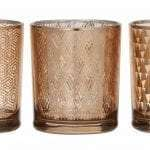 3 Copper Votives with different pattern variations - available for Sydney hire.
