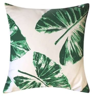 Banana Leaves on White Cushion available for Sydney hire