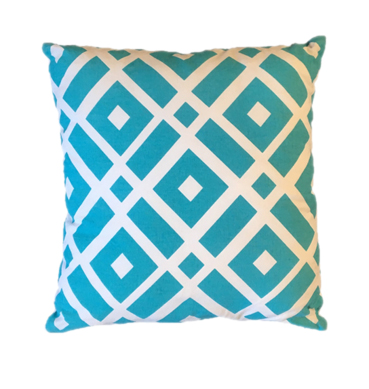 Blue and White Cotton Cushion Available for Hire