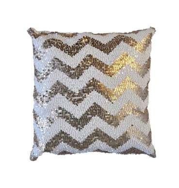 Gold and White Sequin Chevron Cushion