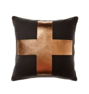 Copper Cushion on Black available for Sydney hire