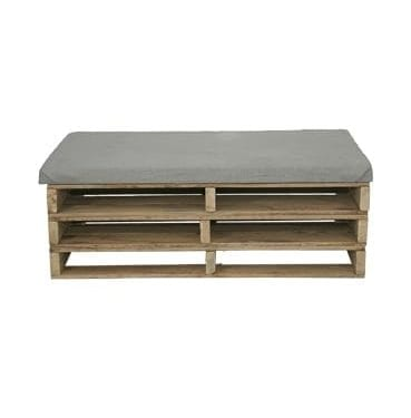 Timber Pallet with Grey Cushion available for Sydney hire