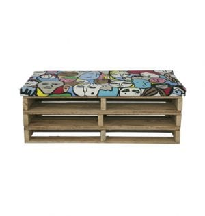 Timber Pallet Daybed with Pop Art Cushion available for Sydney hire.