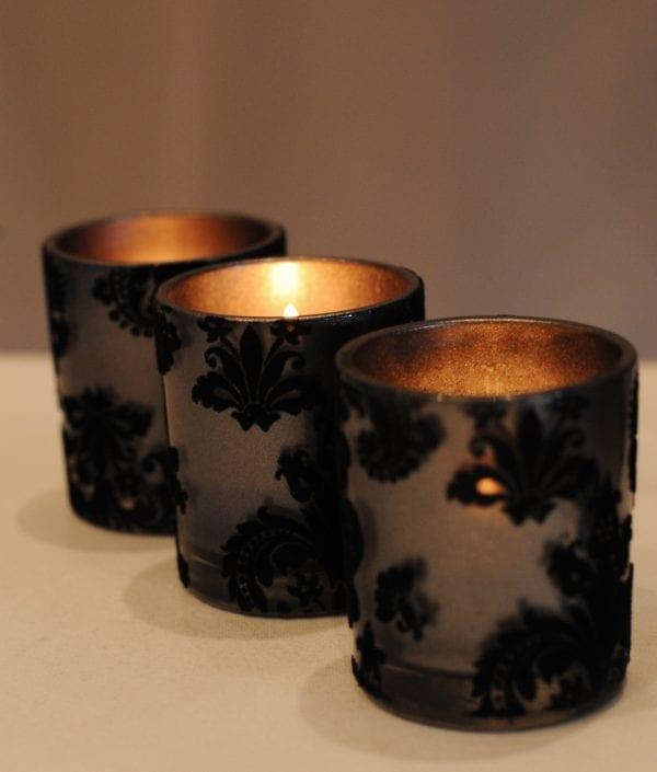 3 Fluer Votives with Tea Light Candles.