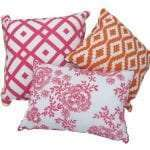 Pink Floral Embroidered Cushion with other Funktionality cushions - example display.