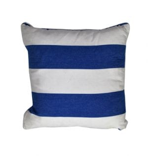 Cotton Blue and White Nautical Stripe Cushion available for Sydney hire