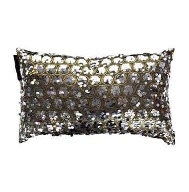 Grey Rectangle Taffeta Sequin Cushion available for Sydney hire