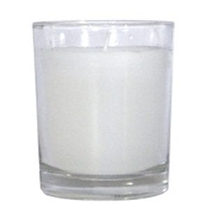 Clear Votive with Wax Candle available for Sydney hire.
