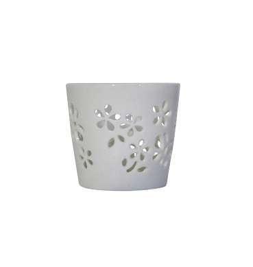 Ceramic white stenciled votive