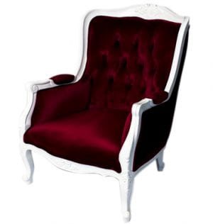 Burgundy French Provincial Chair available for Sydney hire