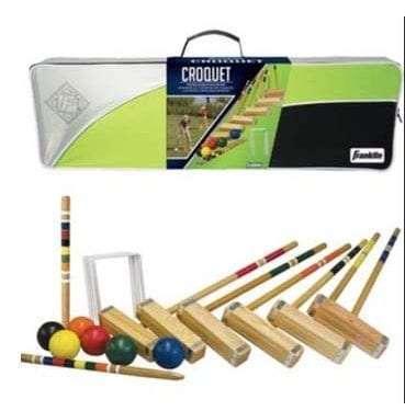 A wooden croquet set