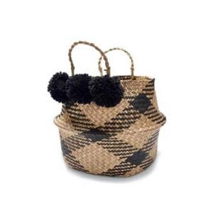 Black and Natural Seagrass Basket with Pom Pom, available for hire