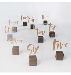 Transparent Table Numbers with Wood Holders available for Sydney hire.