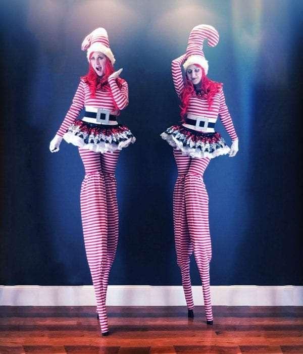Candy Cane Girls on Stilts