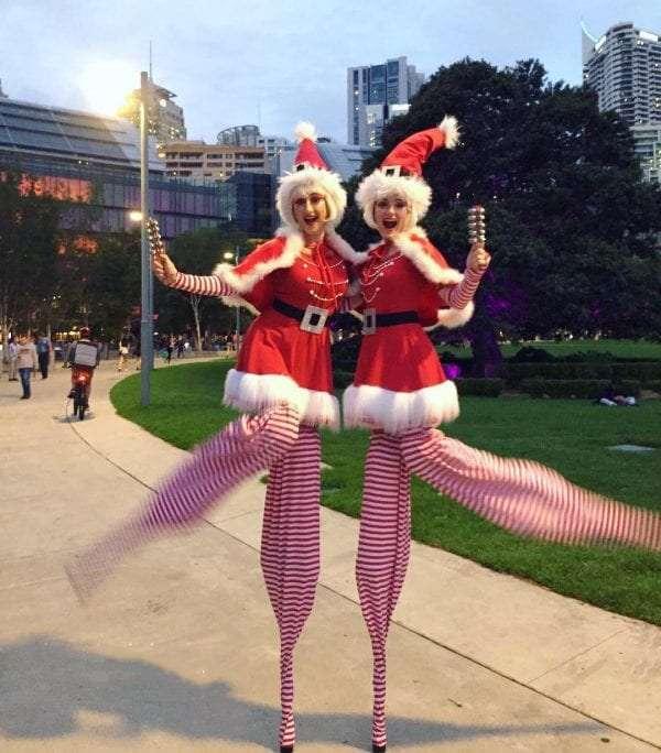 Santa's Little helpers on stilts