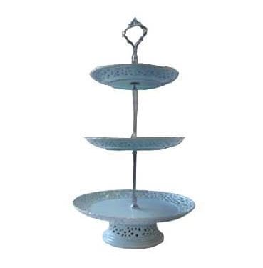 3 Tier Blue Ceramic Cake Stand Available for Hire in Sydney