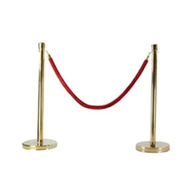 Gold Bollard with Red Velvet Rope Available for Hire in Sydney