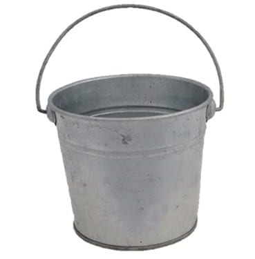 Tin Buckets in Various Sizes Available for Hire