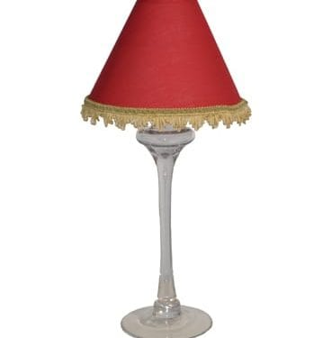 Red Lampshade with Gold Fringe Available for Sydney Hire