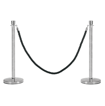 Silver Bollard with Black Velvet Rope Available for Hire in Sydney
