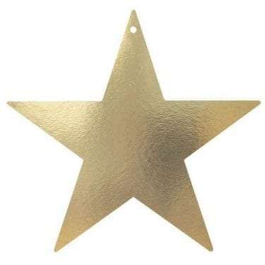 Gold Foil Star with Hole availabl for hire in Sydney, Australia.