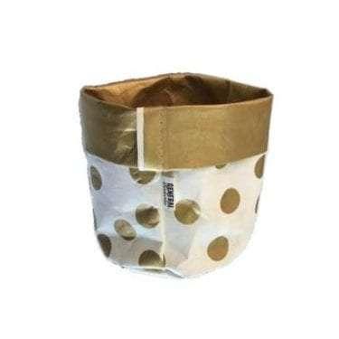 Stock Image of Paper Vase White and Gold Polka Dot