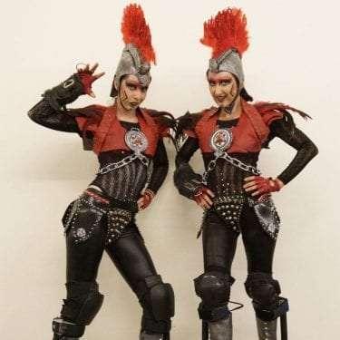 Centurion performers on stilts