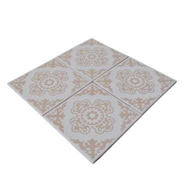 Stock image of four shabby chic ceramic tiles places together.